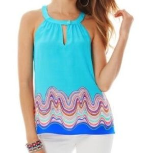 S Lilly Pulitzer Aqua Rogan Halter Top